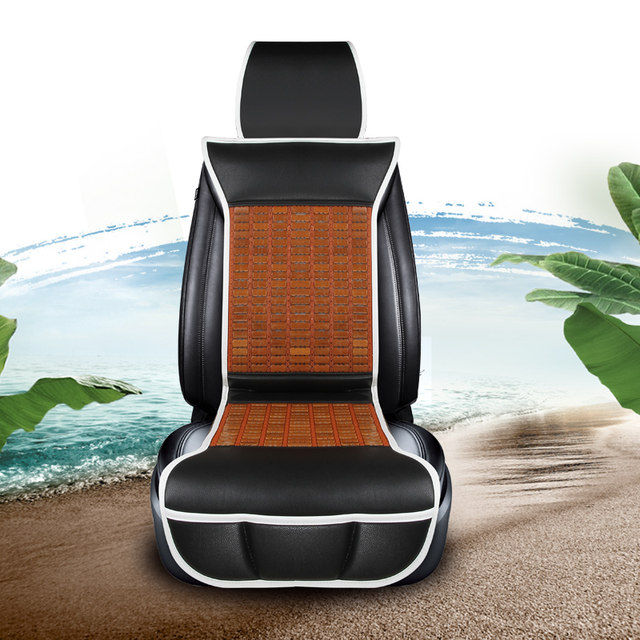 Kkysyelva Front Universal Cool Car Seat Cover Summer Lumbar Support For Office Home Chair Cushion Bamboo Covers