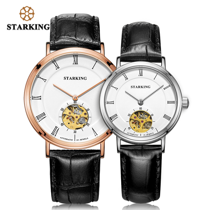 STARKING 2019 Mechanical Watch Lovers Watches Men Women Dress Genuine Leather Wristwatches Fashion Casual Watch Clock AM/L0197
