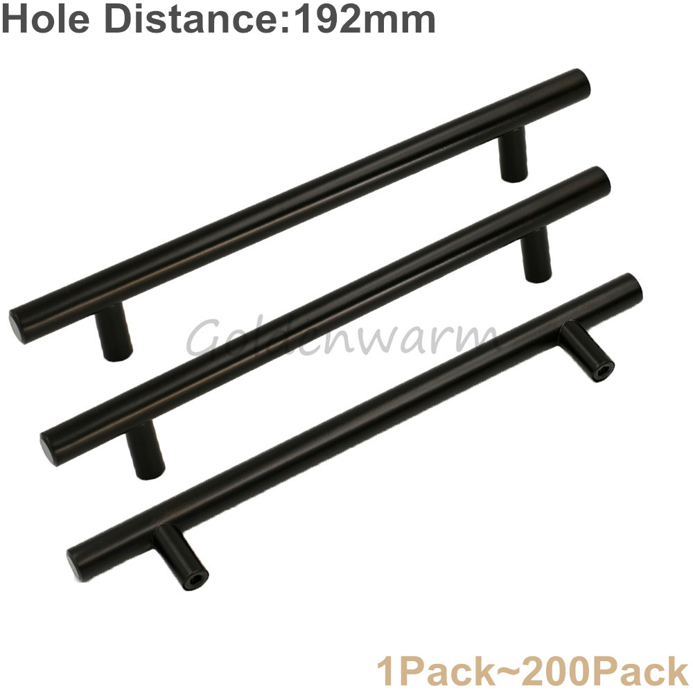 7.5 Hole Distance Furniture Handle Stainless Steel Black T Bar Cabinet Handles Modern Ki ...