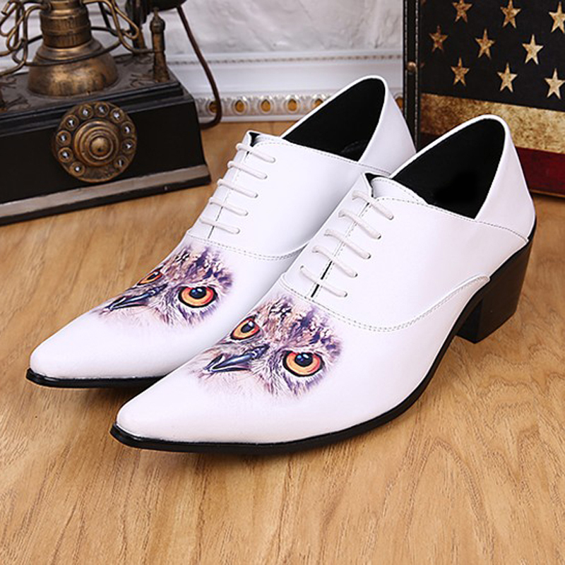 Plus Size New Arrival Pointed Toe Man Italian Designer Oxfords Genuine Leather High Heels Men's Formal Dress Wedding Shoes SL265 plus size 2016 new formal brand genuine leather high heels pointed toe oxfords punk rock men s wolf print flats shoes fpt314