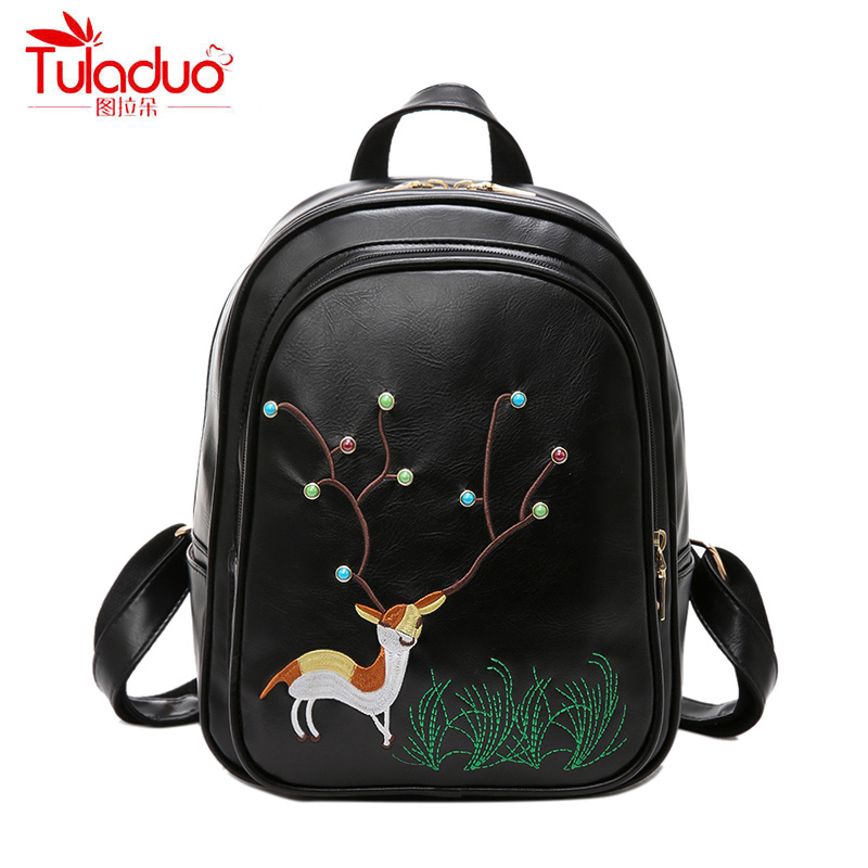 Fashion Embroidery Women Backpacks Trend Colorful Rivets Design Women Backpack High Quality PU Leather Ladies Casual