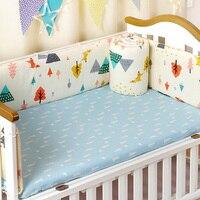4pcs/set Crib Bed Bumpers Set For Newborns Thick Cotton Children's Bed Protector Detachable Zipper Cot Bumpers Baby Bedding Set