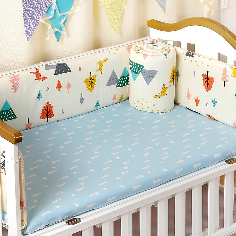 Ensemble de pare-chocs de lit de berceau de 4 pièces/ensemble pour les nouveau-nés épais coton protecteur de lit pour enfants détachable fermeture éclair pare-chocs bébé ensemble de literie