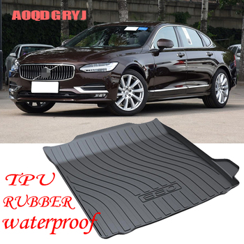 Car Styling 1pcs For volvo S90 2016-2019 Black TPO Rubber waterproof Trunk Cargo Floor Mat Cargo Pad Floor Tray Liner