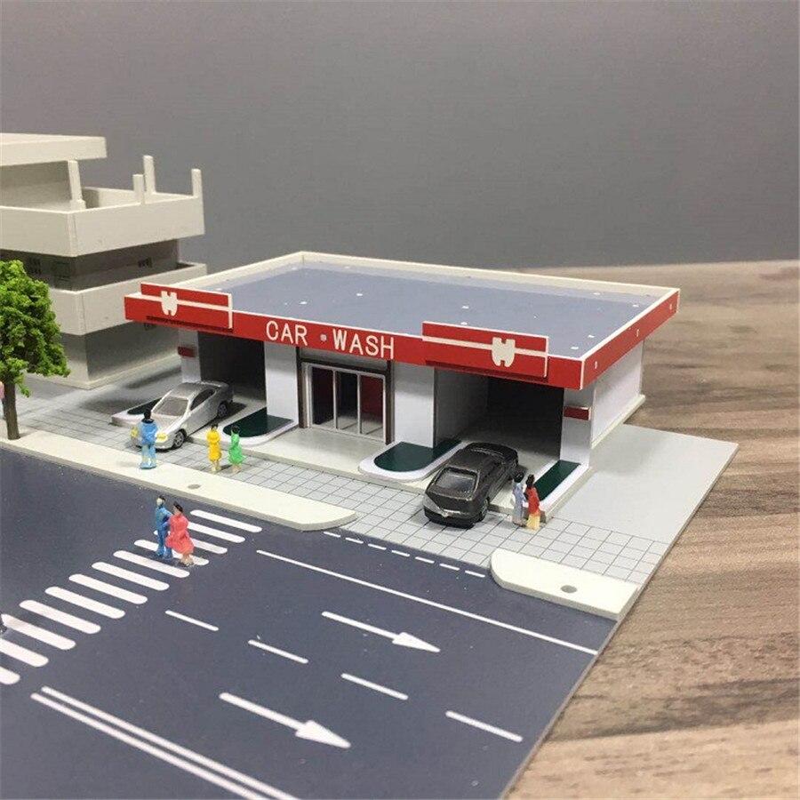 1 150 architectural scene model train station scene model car wash shop hard plastic assembly mold