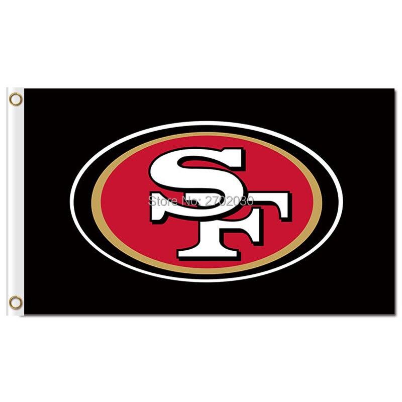 San Francisco 49ers Bandeira 3-pé Por 5-Foot Preto SF Cubs Série Da Bandeira Do Mundo De Futebol San Francisco 49ers Bandeira