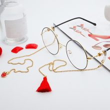 Fashion Sunglasses Glasses Metal Chain Red Smiley Tassels Pendant Jewelry Chain Eyewear Accessories For Women(China)