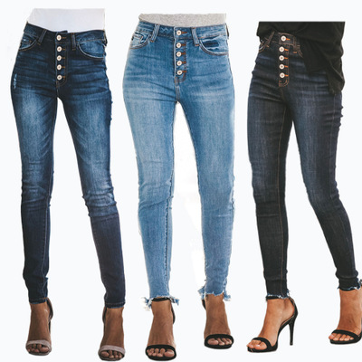 Women High Waist Stretch Denim Jeans Button Skinny Slim Casual Pencil Pants Ladies Trousers