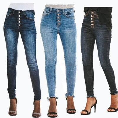 Women High Waist Stretch Denim   Jeans   Button Skinny Slim Casual Pencil Pants Ladies Trousers