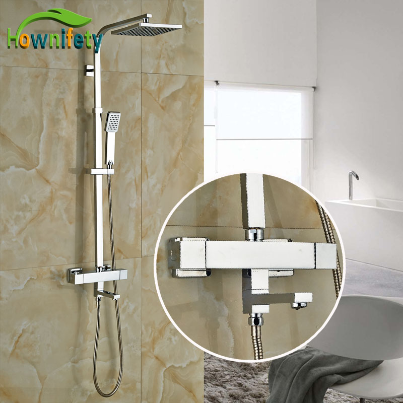 8 Inch Rainfall Showehead Shower Set Plastic Handshower Thermostatic Tap Chrome Polish With Tub Spout Bath Mixers china sanitary ware chrome wall mount thermostatic water tap water saver thermostatic shower faucet