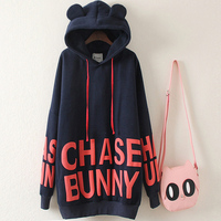 New Winter Plus Size Women T shirts Preppy Style Cute Loose XXXXXL Tops Letter Korean Shirts Hooded Thick Long Sleeve Top