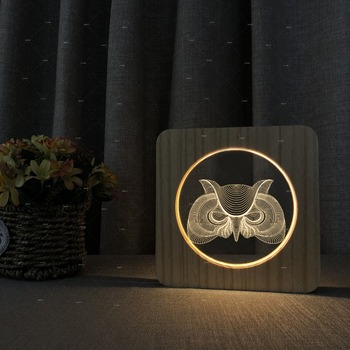 The owl 3D design Wooden acrylic night for living room boutique store decor  bedroom table lamp Exquisite gift