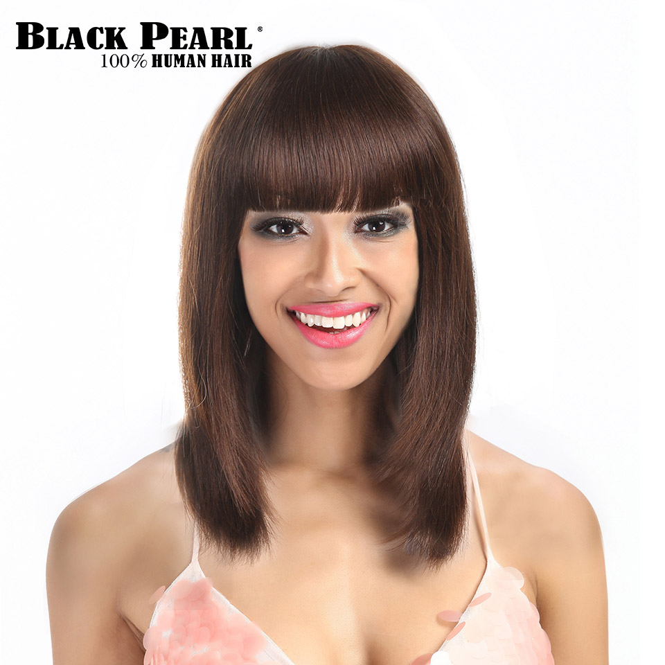 Black Pearl Medium Long Straight Hair Brown Wigs For Black