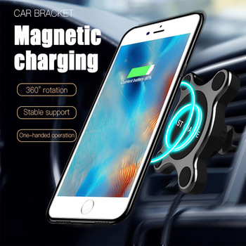 Car Mount Qi Wireless Charger For Samsung Galaxy S9 S8 Note 9 Wireless Charging Car Phone Holder Stand For iPhone 8 9 X
