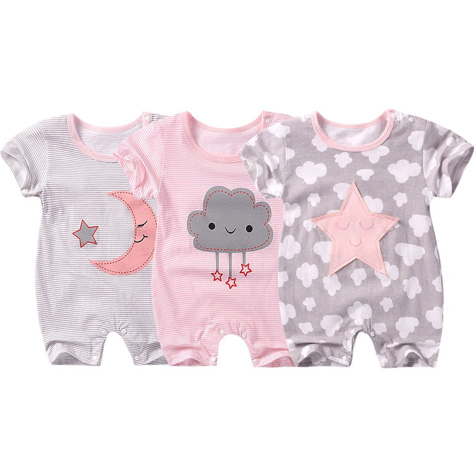 2018 new Baby girls clothes summer Cotton baby Jumpsuit Star Moon Baby boys Rompers Overalls Newborn Baby Clothes dinstry 2018 new born baby clothes bird print baby jumpsuit summer baby rompers baby cotton dress