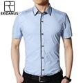 Camisa de Los Hombres Para la Ropa de Trabajo de verano 2016 Nuevo Macho Sólido Color Slim Fit Vestido de Cuello Cuadrado Corto manga Non-hierro Camisas Formales M092