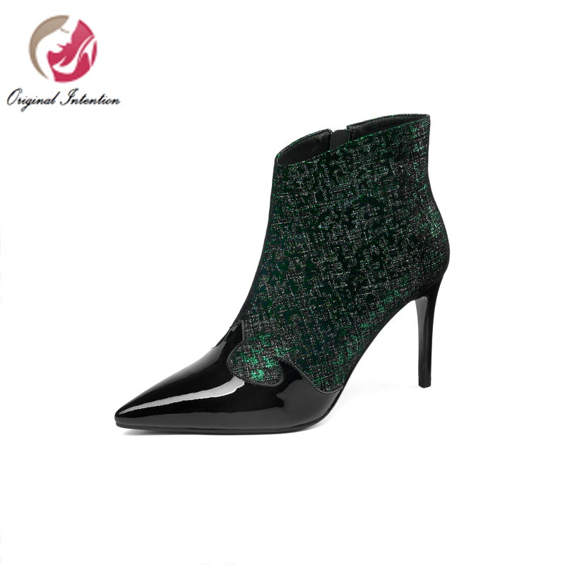 Original Intention New Women Autumn Leather Ankle Boots Elegant Pointed Toe Thin High Heels Green Red Shoes Women US Size 4-8.5.Original Intention New Women Autumn Leather Ankle Boots Elegant Pointed Toe Thin High Heels Green Red Shoes Women US Size 4-8.5.