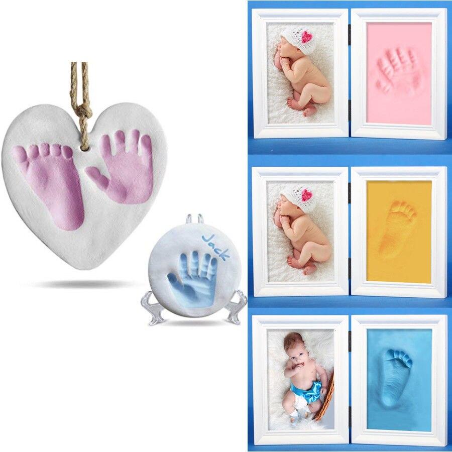 תינוק טיפול אוויר ייבוש רך חימר תינוק טביעת רגל חותם ערכת ליהוק הורה-ילד יד כרית דיו טביעת אצבע תליית קישוט