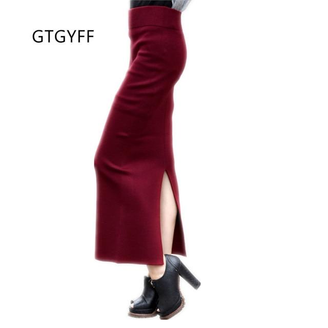 92c848c255cd4e Herfst winter stretch hoge taille maxi lange split gebreide rok voor  vrouwen rood blauw groen zwart