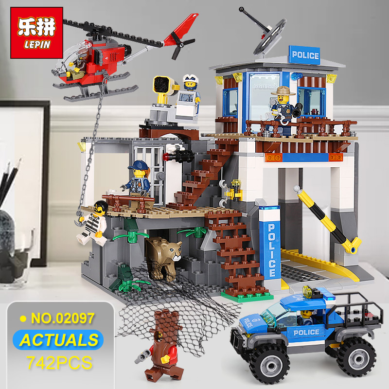 цена Lepin 02097 City Series The Mountain Police Headquater Set LegoINGlys 60174 Building Blocks Bricks Toys Model For Kids As Gifts