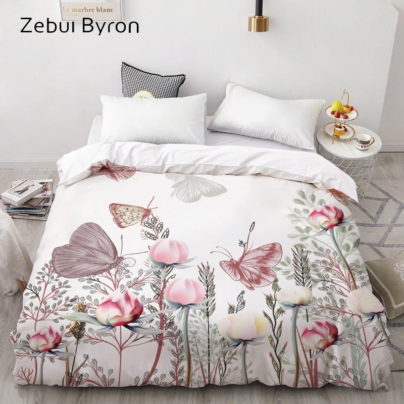 3D HD Digital Print Custom Duvet Cover,Comforter/Quilt/Blanket Case Queen/King Bedding 220x240/200x200,Butterfly In Flowers