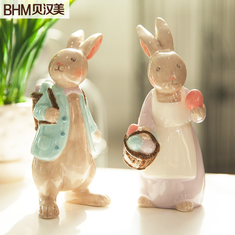 Family Ceramic White Rabbit Home Decor Crafts Room Decoration Handicraft Ornament Porcelain Animal Figurines Wedding Decorations
