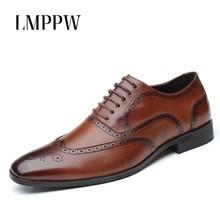 Luxury Brand Genuine Leather Fashion Men Business Dress Shoes Breathable Formal Wedding Oxford 2019 New Gentlemen