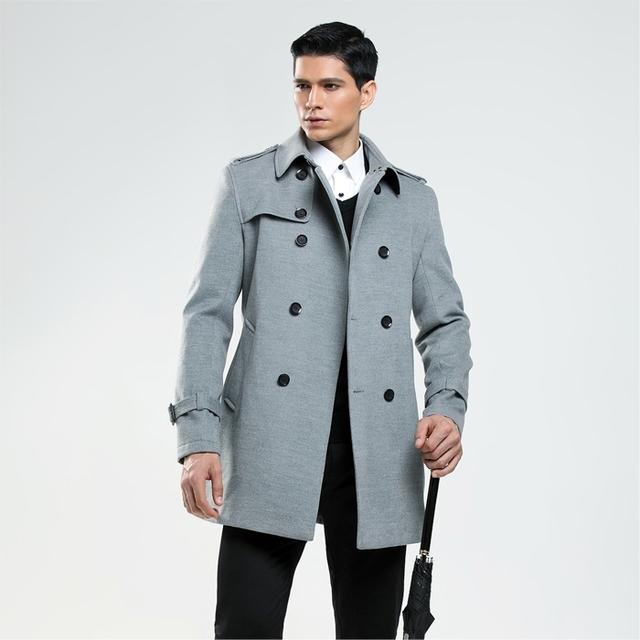 New Arrival 2016 Outono/inverno double breasted lã casaco masculino imitação casaco de caxemira dos homens de negócios Britânico personalizar outwear