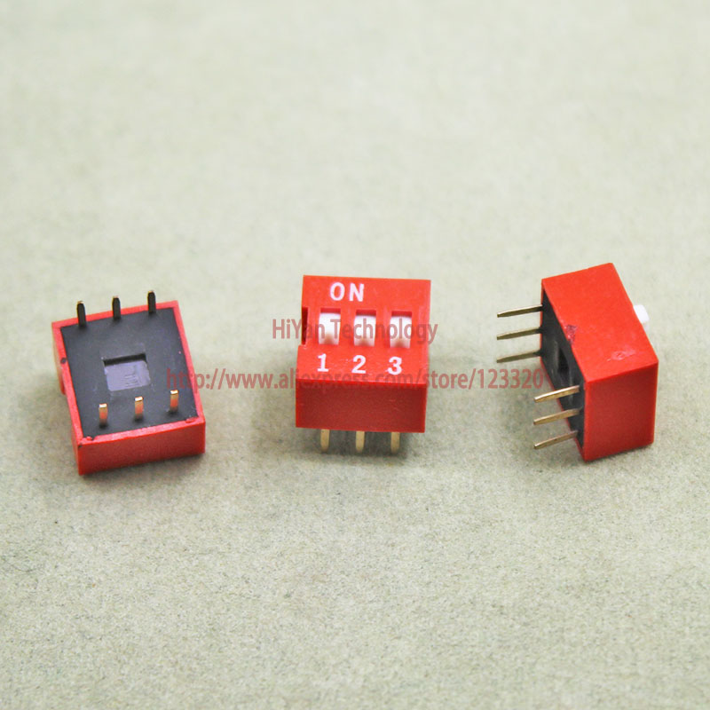 цены на 20pcs/lot 3 Positions 6Pin DIP Switch 2.54MM Pitch Red 3P DIP Switches в интернет-магазинах