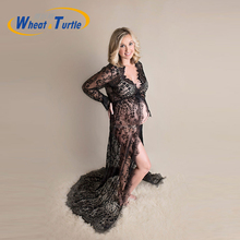 цены на Lace Maternity Photography Props Pregnancy Long Dresses Pregnant Women Maternity Dress Slash Neck Evening Romantic Photo Shoot в интернет-магазинах