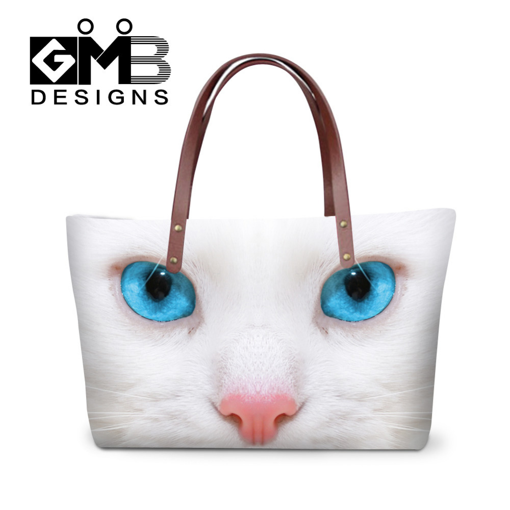 Women Handbags Animal Cat Dog Printed Shoulder Bag Large Capacity Messenger Bag Female Cross Body Bags Ladies Tote Shopping Bag forudesigns vintage black pet dog printed women large handbags fashion ladies top handle bag girls shoulder female big tote bag
