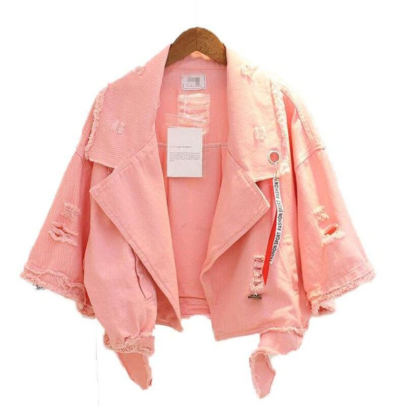 Bright Colors Denim   Coat   Women Bomber Jacket Hollow Out Harajuku Half Sleeve   Coats   Lapel Single Breasted Casual Fall Jacket