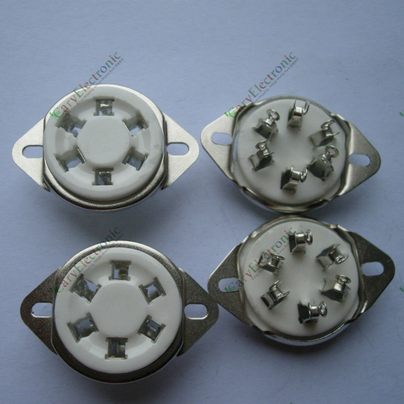 Wholesale and retail 12pc New 6pin silver Ceramic vacuum tube socket top mount valve Fr 310 366 audio