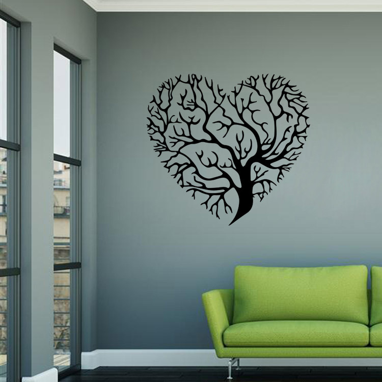 Love Hearts Tree Wall Sticker Baby Nursery Tree Wall Decal DIY Large Tree  Wall Decors Cut