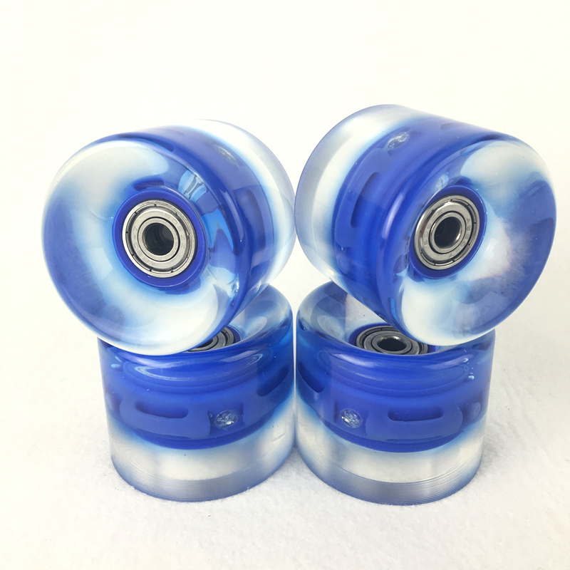 4pcs 60 X 45mm Transparent LED Light Skateboard Wheels Riding Durable Longboard Skateboard Wheel