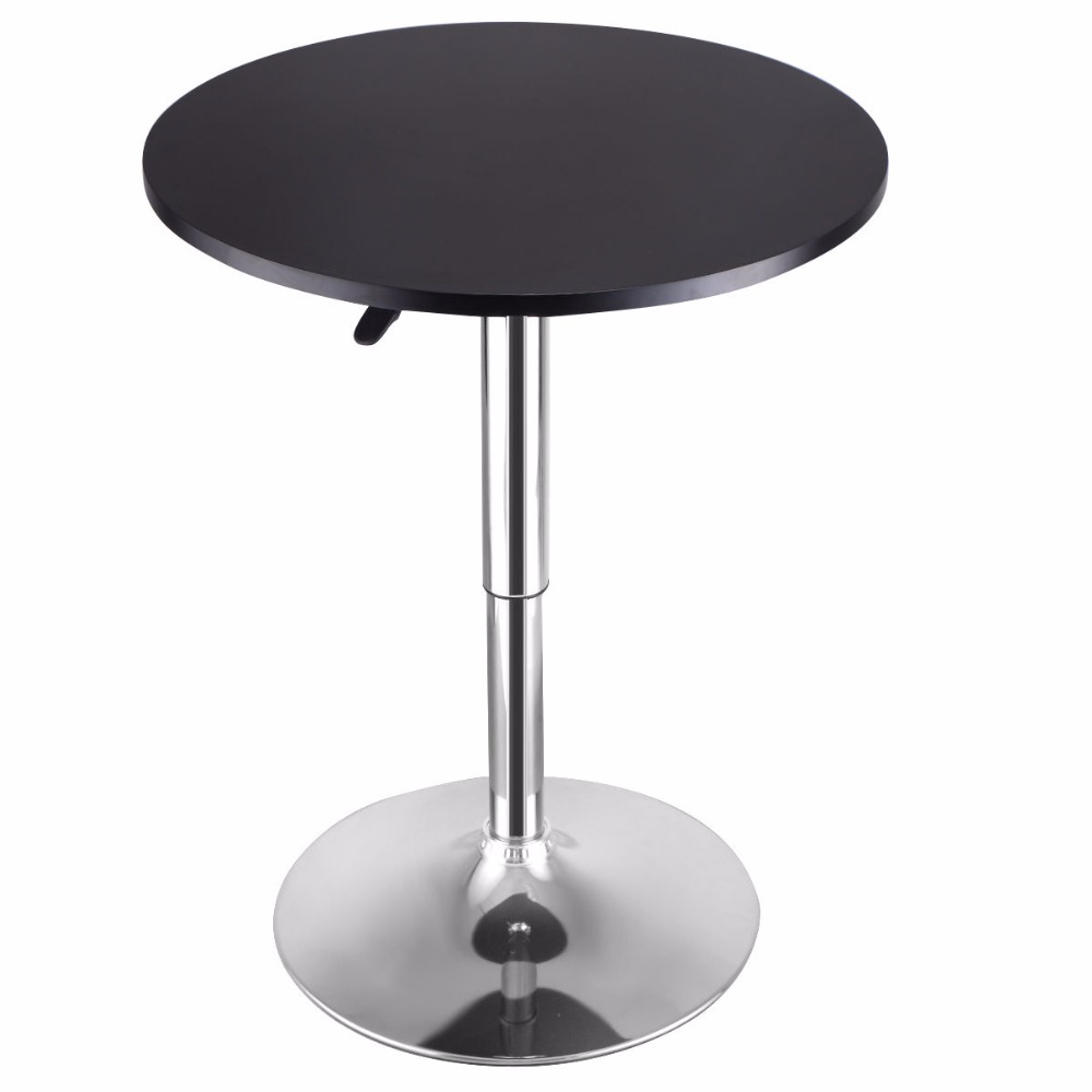 Goplus Modern Round Bar Table Adjustable Bistro Pub Counter Wood Top Swivel  Indoor Home Table Portable Furniture HW52760 In Bar Tables From Furniture  On ...