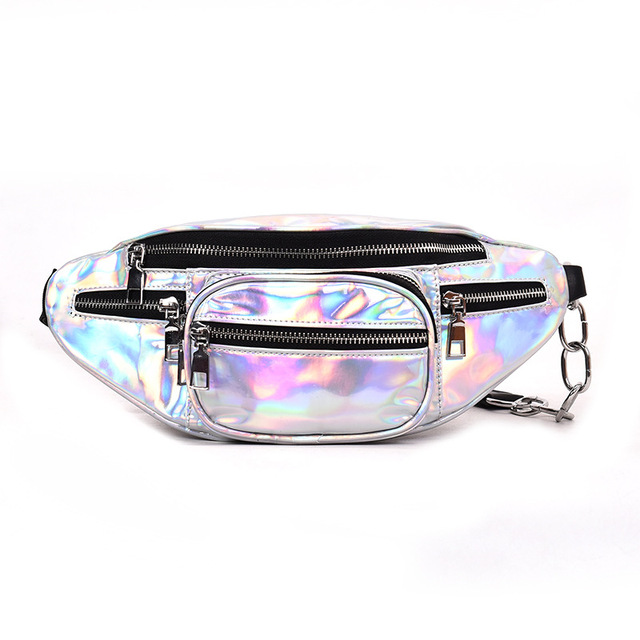 2018 Holographic Fanny Pack Women Laser Bum Bag Travel Beach Shiny Belt Bag Fashion Women's Waist Bags Hologram Travel Hip Bag