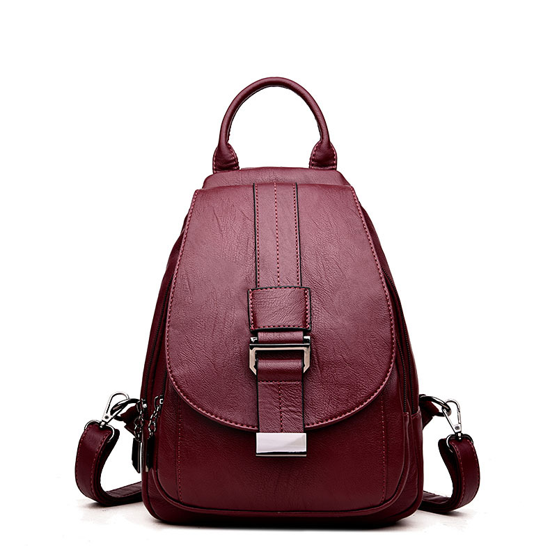 Fashion Women Backpack Leather Preppy Style School Bags for Teenage Girls Shoulder Bag Female Mochila Backpack Ladies Travel Bag simple style backpack women genuine leather shoulder bag for teenage girls fashion vintage rucksack designer school mochila