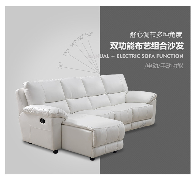 Whit Leather Living Room Sofa Set L Corner w/ Electric Recliners 2