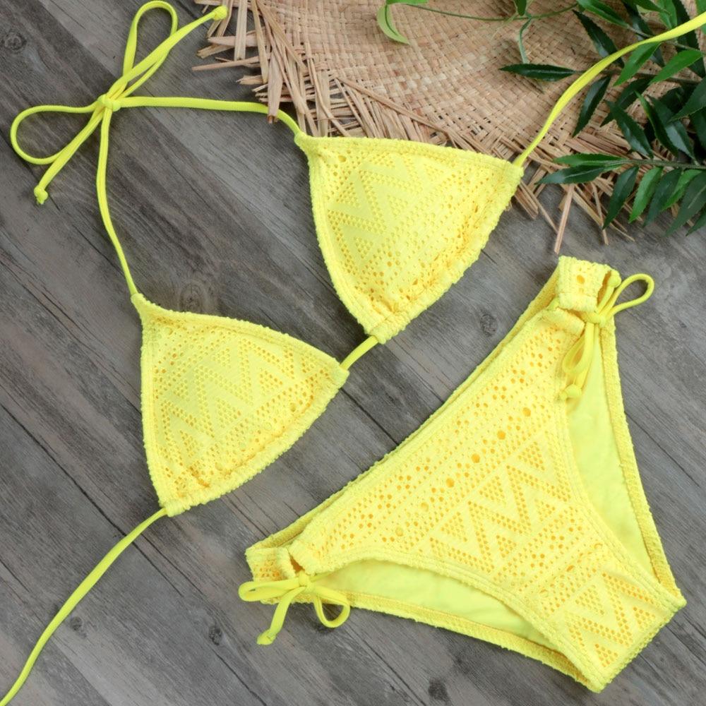 2019 Girls Sexy Lace Bikini Set Swimwear Yellow Push Up Swimsuit Monokini Female Beachwear Micro Brazilian Bikini Bathing Suit