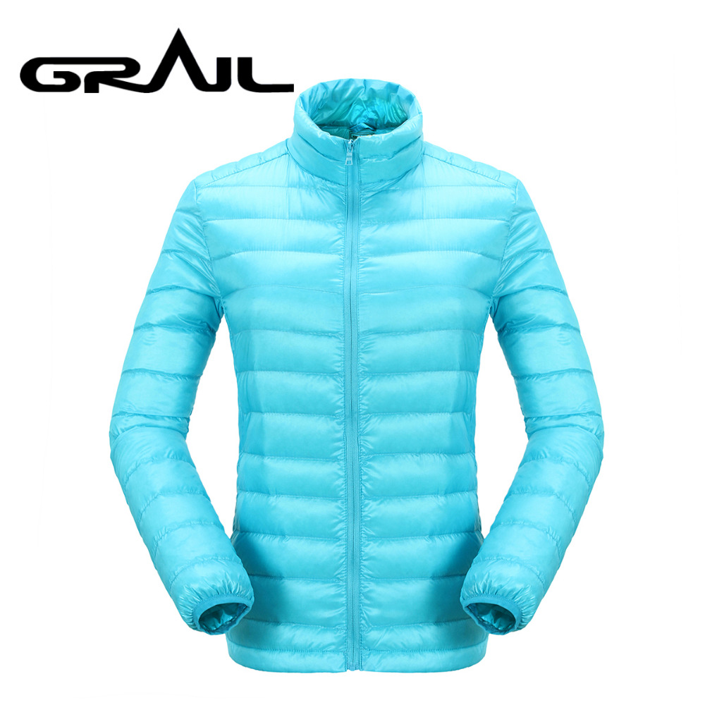 GRAIL Women Hiking Down Jacket Ultra Light Weight Thermal Warm Coat Acid Blue Stand Collar for Camping Hiking Snowboarding 6530A grail outdoor polartec fleece basic jacket loose zip up multi pockets warm jacket coat stand collar for camping hiking m5007a
