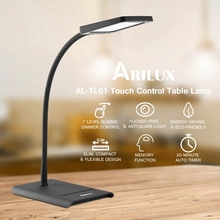 Hot ARILUX AL-TL01 Fashion Black 10W Dimmable Adjustable Touch Controlled Eye-Care LED Table Desk Lamps AC100-240V NEW