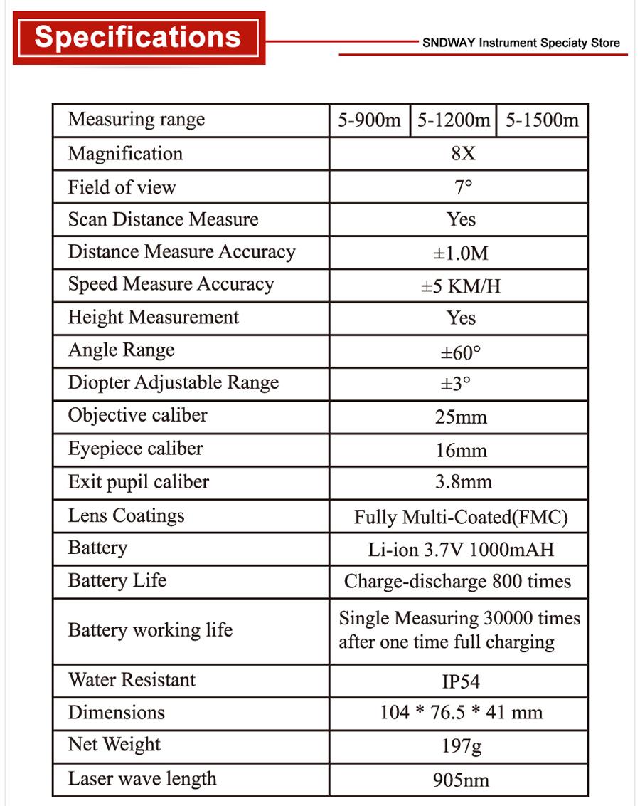 Laser Distance Meter Telescope SW-900A 1200A 1500A (3)