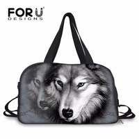 FORUDESIGNS Gray Print Wolf Travel Bag For Men Classic Horse Dinosaur Luggage Bag Large Capacity Traveling