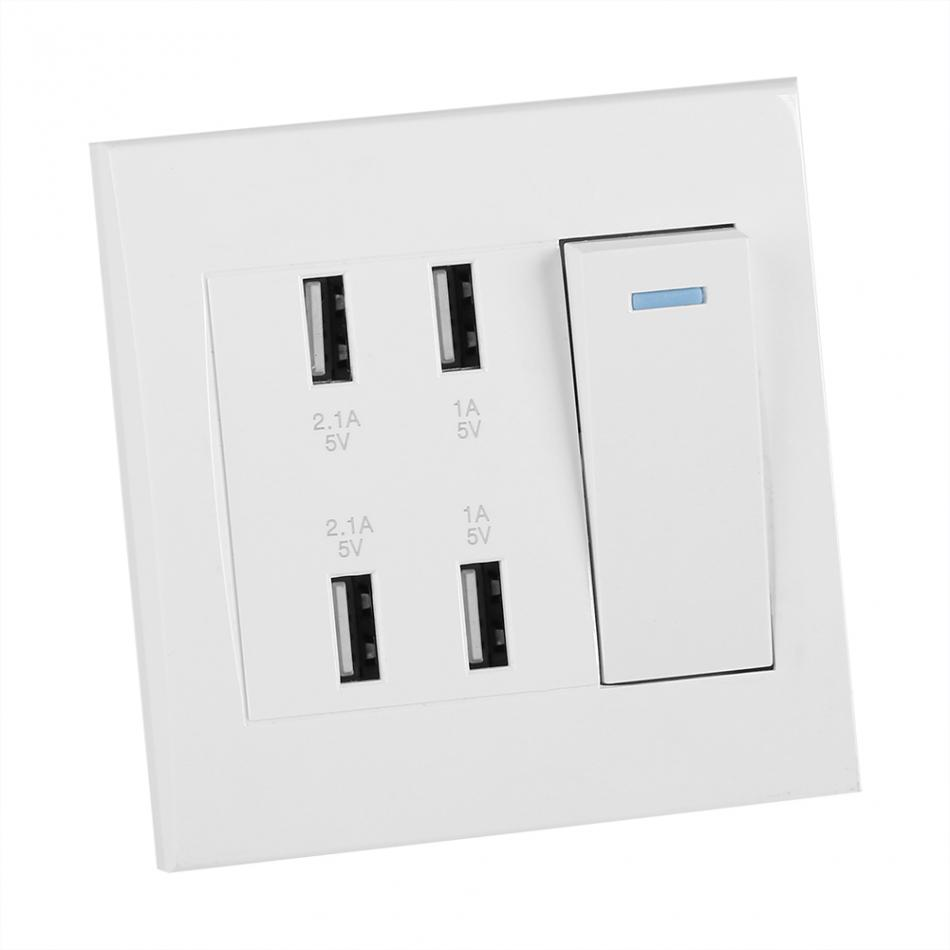 USB Wall Mounted Power Socket 4 Ports Switch Control 5V 2.1A/1A 4100mA Charger Outlet(220~250V) Electric Wall Charger Adapter