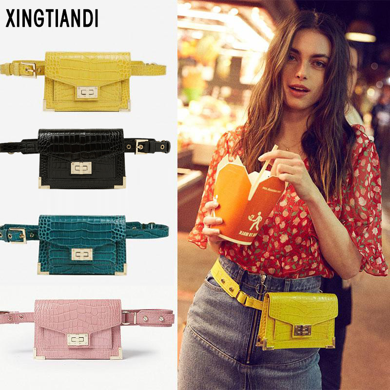 Ladies Waist Bag Crocodile Belt Handbag Pu Leather Vintage Strap Chain Bags For Women 2019 Fashion