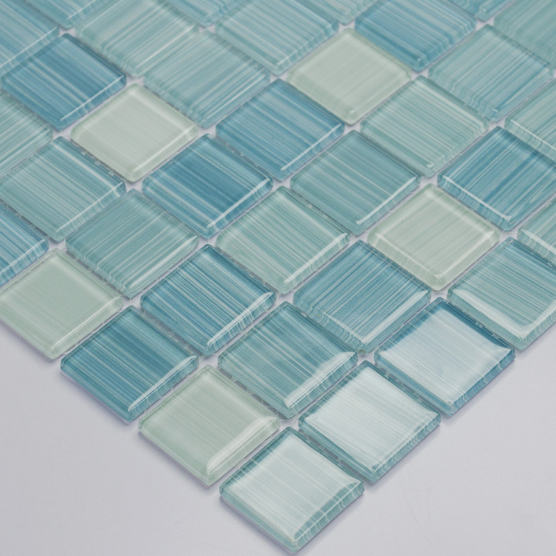 Blue Hand Painted Diy Crystal Glass Mosaic Tiles Children Kids Room Kitchen Backsplash Tile Bathroom Color
