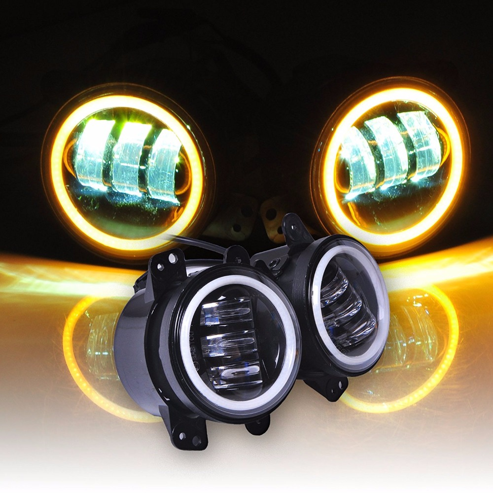 4 Inch Led Fog Lights Yellow Amber Halo Ring DRL For Jeep Wrangler 97-17 JK TJ LJ Off Road Fog Lamps 2pcs 4inch round led fog lights 30w 6000k white halo ring drl off road fog lamps for jeep wrangler jk tj lj dodge journey