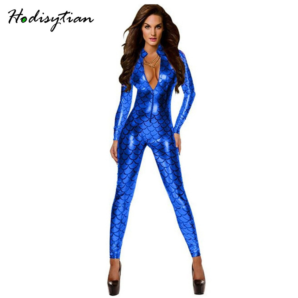 Hodisytian Faux Leather Lingerie Jumpsuit Sexy Bodysuits Women Bandage Cat Girl Teddy -5055