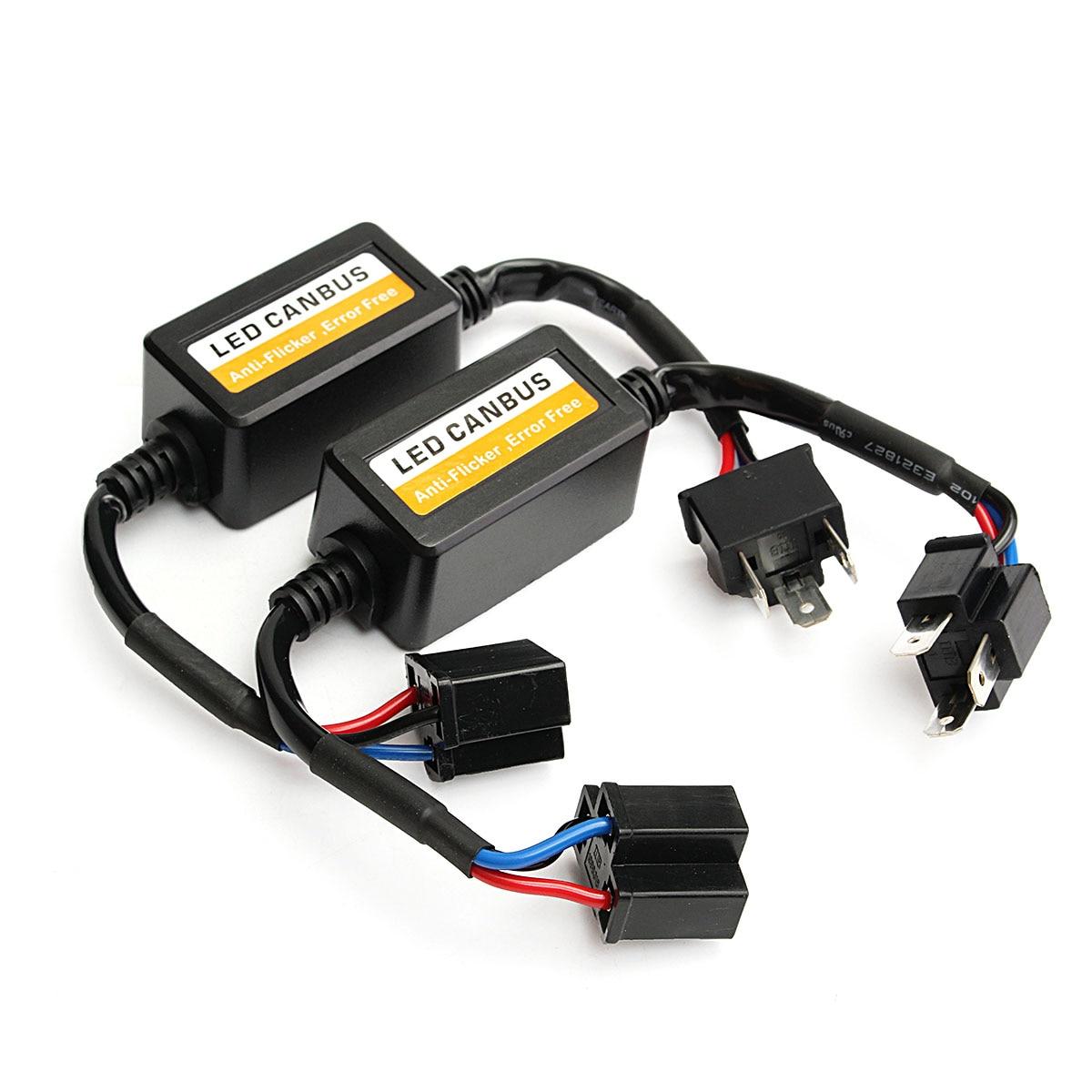 2Pcs H4 Car LED Headlight Decoder Canbus Fog Bulb Light No Error Load Resistor No Flickering Warning Canceller Adapter 2x car 1157 bay15d 1034 warning canceller error free load resistor led decoder